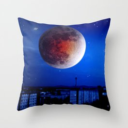 Small moon over the city. Throw Pillow