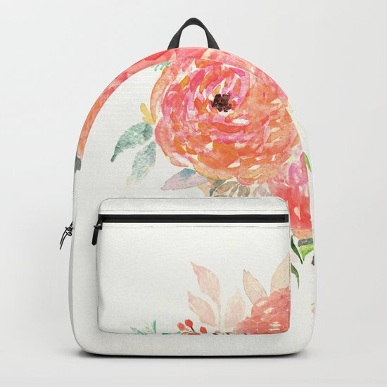 Pink Flower Bouquet Backpack
