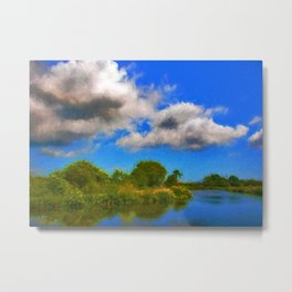 Life Bouy Beside The Canal Metal Print