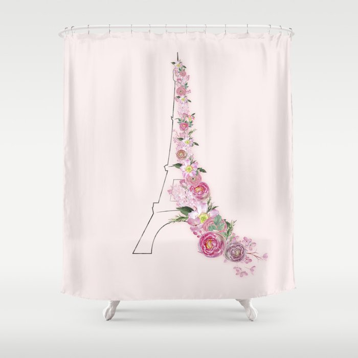 Paris in Flower Love Shower Curtain by betterhome | Society6