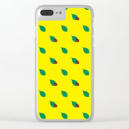 Neon yellow green red floral dots ladybug Clear iPhone Case
