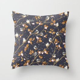 Chickadee birds in Winter Snowberries and snowflakes Throw Pillow