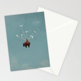 Baby Elephant Flies Stationery Cards