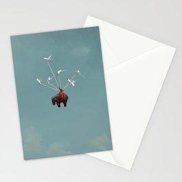Baby Elephant Flies Stationery Cards