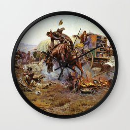 C.M. Russell Cook's Troubles Vintage Western Art Wall Clock