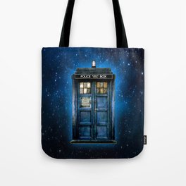 Beautiful tardis with yellow stained glass windows Tote Bag