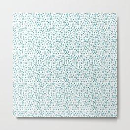 Mint Watercolor Dots - Aqua, Teal, Mint, Blue Metal Print