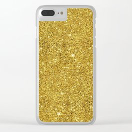 Gold faux glitter background Clear iPhone Case