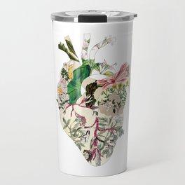 Vintage Botanical Heart On Green Travel Mug