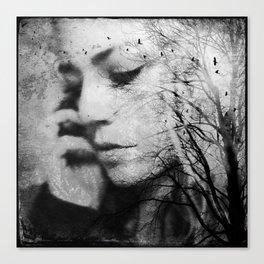 Another World - surreal dreamy portrait, woman nature photo, tree nature portrait Canvas Print
