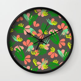 Henri's Garden in gray // tropical flora pattern Wall Clock