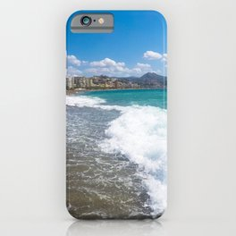 Malaga beach, sea in foreground iPhone Case