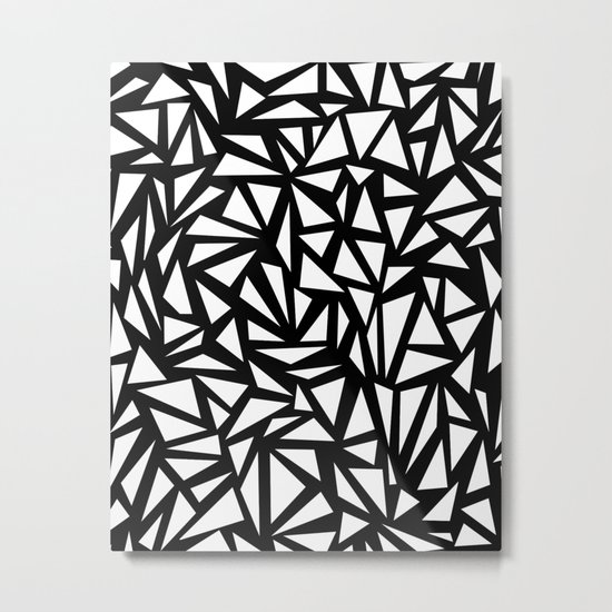 Try Me - memphis modern black and white minimal angular geometric triangle fun 1980s retro  Metal Print