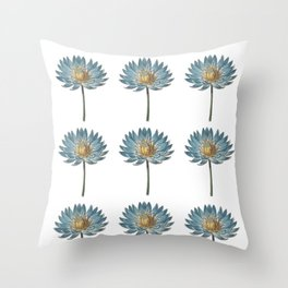 Blue Egyptian water lily pattern Throw Pillow