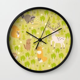 Cute animals seamless pattern. Cute pattern for kids. Wall Clock