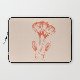 Flower duo in burnt orange inspired by tattoo style, boho chic illustration Laptop Sleeve