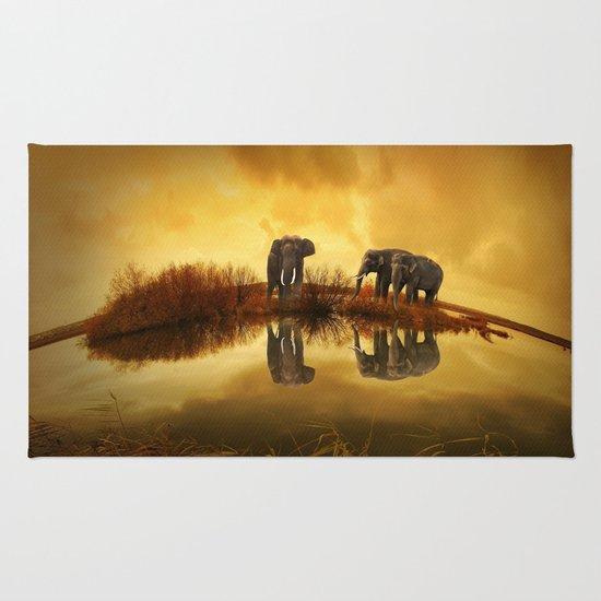 The Herd (Elephants) Rug