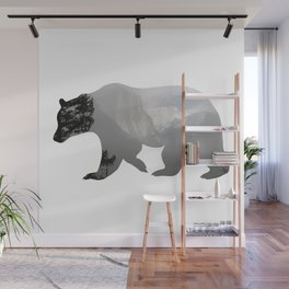 Grizzly Bear with Yosemite Photo Inlay Wall Mural