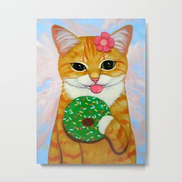 GIRL KITTY, GREEN DONUT Metal Print