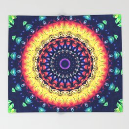 Colorful Flower Mandala Throw Blanket