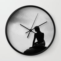 little mermaid Wall Clocks featuring Little Mermaid by Pioforsky