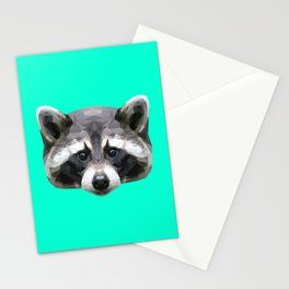 Raccoon // Mint Stationery Cards
