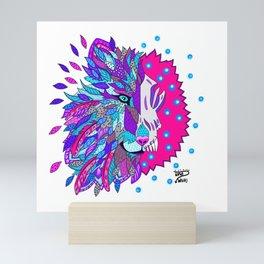 Wolf with Feathers Spirit Animal Pop Art Print Bold Mini Art Print