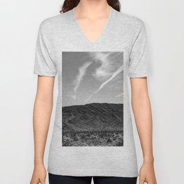 Desert Beauty | Remote Isolated Contrail Clouds Serene Calm Desolation Unisex V-Neck