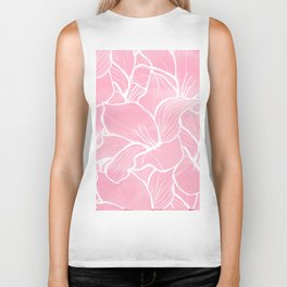 Modern white hand drawn abstrat floral pastel pink watercolor Biker Tank