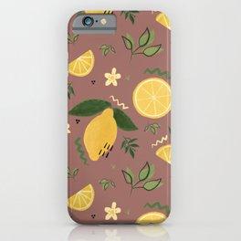 Whimsical Repeat Lemon Print Illustration - Mauve iPhone Case