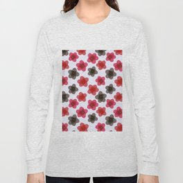 Red black floral pattern Long Sleeve T-shirt