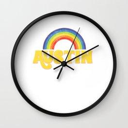 Vintage Austin Retro Rainbow Distressed Austin Texas Cool Wall Clock
