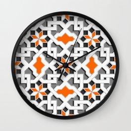 black, white, grey, orange -  Oriental design - orient  pattern - arabic style geometric mosaic Wall Clock