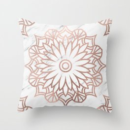 Marble mandala - floral rose gold on white Throw Pillow