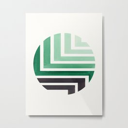 Deep Green Circle Round Framed Mid Century Modern Aztec Geometric Pattern Maze Metal Print