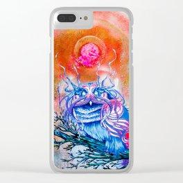 """G0d king owl"" animal art , bird art . Surrealism Clear iPhone Case"