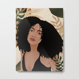 Tropic drawing woman with a curls hair leaves Metal Print