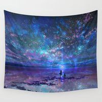 discount Wall Tapestries featuring Ocean, Stars, Sky, and You by Melissa Hui Wang (muddymelly)