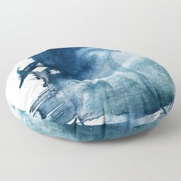Pacific Grove: a pretty minimal abstract piece in blue by Alyssa Hamilton Art Floor Pillow