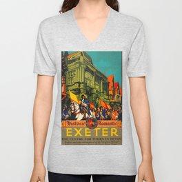 Exeter Travel Poster Unisex V-Neck