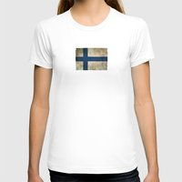 finland T-shirts featuring Old and Worn Distressed Vintage Flag of Finland by Jeff Bartels