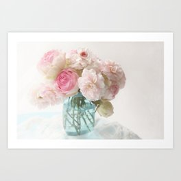 pink roses in blue jar Art Print