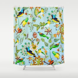 Colourful Birds Chintz Multicolour Shower Curtain