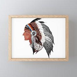 Tribal,American Indian man,indigenous art  Framed Mini Art Print