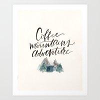 Coffee Mountains Adventure Art Print