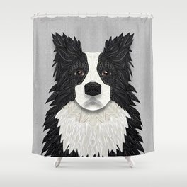 Black Border Collie Shower Curtain