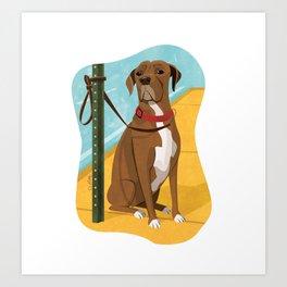 Boxer Dog Art Illustration Art Print