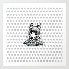 girl art - cute bunny girl Art Print