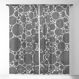 Modern Black and WHITE Textured Bubble Design Sheer Curtain