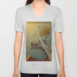 NASA Mars Recruitment Poster - Technicians Wanted Unisex V-Neck
